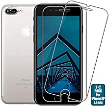 iPhone 8 Plus/7 Plus Screen Protector + Camera Lens Protector By BIGFACE, [2 Pack + 2 Pack] Premium Tempered Glass,9H Hardness,Anti-Scratch,3D Touch Accuracy Anti-Bubble Film for iPhone 8 Plus/7 Plus (Transparent)