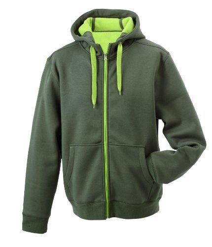 JAMES & NICHOLSON Homme Veste de Sport Réversible Vert Olive/Lime-Green m