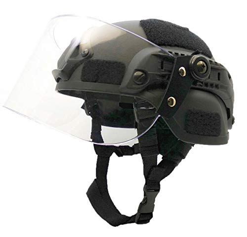 Airsoft MICH 2000 ACH Tactical Helmet with Clear Visor NVG Mount and Side Rail (Black)
