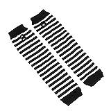 Guantes Largos de Invierno sin Dedos para Mujer, Cubierta de muñeca de algodón a Rayas Blancas y Negras, Guantes de Mujer, Manga, Guantes de Punto para Hombre-Black White-One Size