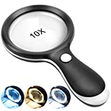 Magnifying Glass with Light, 10X Handheld Large Magnifying Glass 18LED Cold and Warm Light with 3 Modes, Illuminated Lighted Magnifier for Seniors Reading, Inspection, Coins, Jewelry, Exploring
