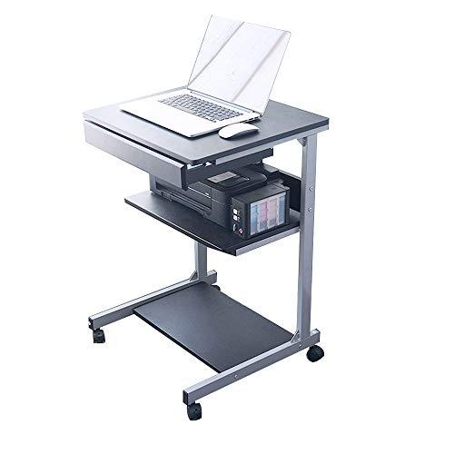 XIA Bureau/table d'ordinateur, table de travail mobile à 3 niveaux avec clavier coulissant, 4 roues pour maison/bureau 55 x 48 x 78 cm 2 couleurs (Couleur : NOIR)