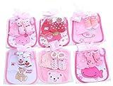 Set de regalo bebe babero+ calcetines+ guantes rosas-regalo original para recién nacidos