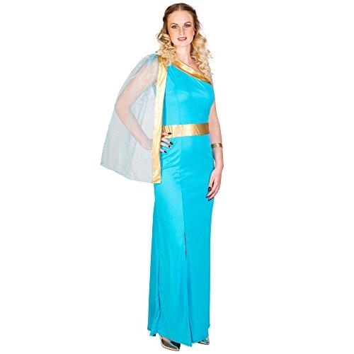 TecTake dressforfun Frauenkostüm griechische Königin Helena | königliches Kleid mit sexy Beinschlitz | aufgenähte Tüllschärpe | goldene Bordüre unterhalb der Brust (S | Nr. 300394)