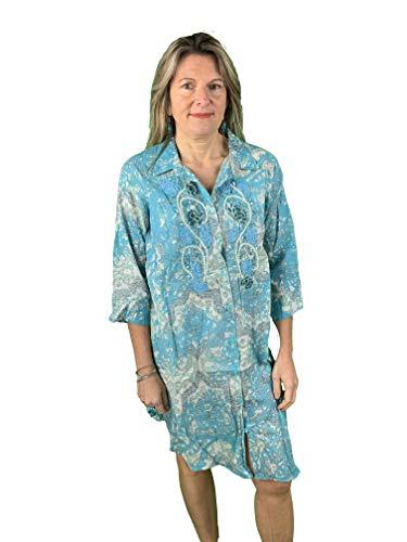 Strandjurk met open blouse vooraan met parelborduurwerk Art. C353B.