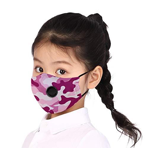 Supertong 2 Stück Mundschutz Kinder Baumwolle Tägliche Pflege Staubdicht Gesichtsschutz Wiederverwendbar Waschbar Atmungsaktiv Einstellbar Camouflage Face Shield mit Atemventil (7)