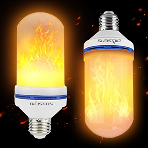 DILISENS LED Flame Effect Light Bulbs-Newest Upgraded 4 Modes Flickering Fire Simulated Lamps-for Halloween/Christmas Decoration/Home/Festival, Small, 2 Count