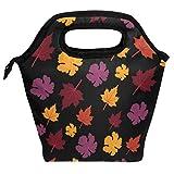 Bolsa de almuerzo con diseño de hojas de otoño, reutilizable, aislante, para mujeres, niños, parrillas, almuerzos, preparación de comidas, bolso de mano para la escuela, picnic, oficina