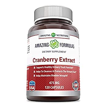 Amazing Nutrition Cranberry 100% Natural Supplement - 475 mg 120 Capsules Capsules Made from 100% Pure Cranvberroes  Vaccinium Macrocarpon - Supports Healthy Urinary Track Function