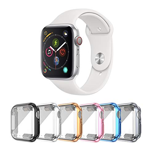 SLYEN Paquete de 6 estuches para Apple Watch con protector de pantalla ultradelgado compatible con iWatch de 38 mm, estuche de cobertura total para Apple Watch Series 3 Series 2