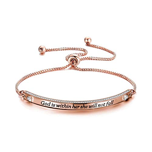 CENWA Christian Gift Religious Bracelet Jewelry Psalm 46:5 God is Within Her She Will Not Fall Zircon Bracelet Bible Verse Bracelet Gift (god is within her br RG)