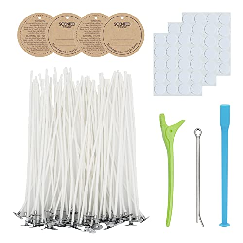 """CandMak Candle Wick Kit, 60pcs Candle Wicks with Wick Stickers, Wick Holders and Candle Tags for Candle Making (Thick 4""""+6""""+8"""")"""