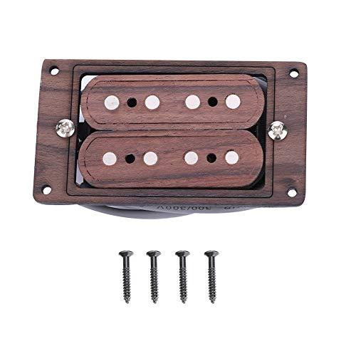 NEUFDAY 4-saitiger Gitarren-Tonabnehmer, vorverdrahtete 4-saitige Humbucker-Eingangsbuchse für Zigarrenkiste-Gitarre(Rosenholz Rotbraun)