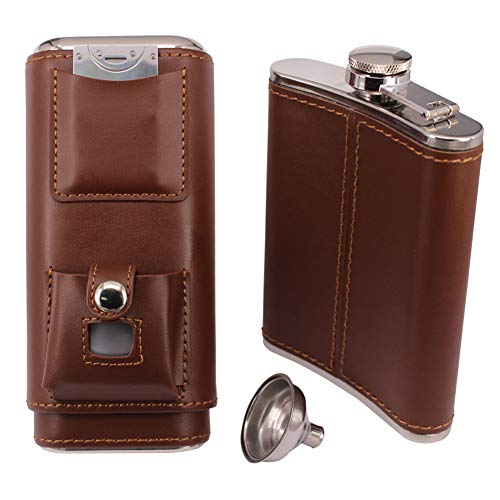 TOIKA Portable Cigar Case Humidor 8 oz Flask Combo Set, Cigar Lighter and Cutter Contained,Pefect Gift for Cigar Smokers
