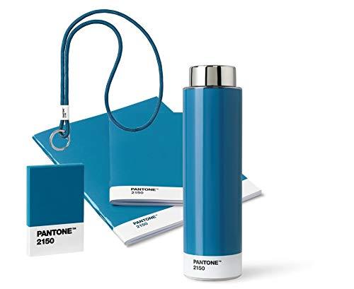 Pantone 18237 Unterwegs, blau, aus Trinkflasche, Schlüsselband Keychain Long, Booklet 2er-Set und Visitenkartenhalter, Blue 2150, 5 Artikeln, 5 Komponente