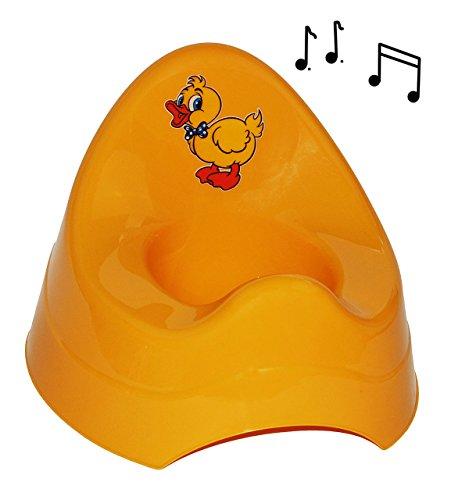 alles-meine.de GmbH Töpfchen / Nachttopf - mit Musik / Sound - groß - mit großer Lehne + Spritzschutz -  lustige Ente - gelb  - Babytöpfchen / Kindertopf / Lerntöpfchen - Toile..