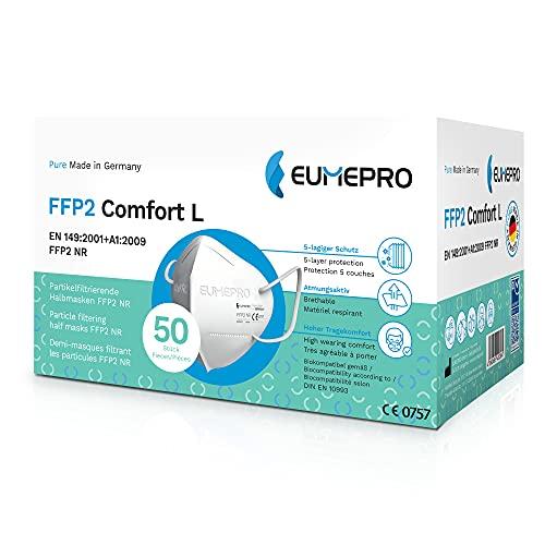EUMEPRO FFP2 Comfort L I 50 Stück FFP2 Maske CE Zertifiziert [Pure Made in Germany] Partikelfiltrierende Halbmasken FFP2 NR als Mund-Nasen-Schutz I Zertifizierungen: EN 149:2001+A1:2009, CE 0757