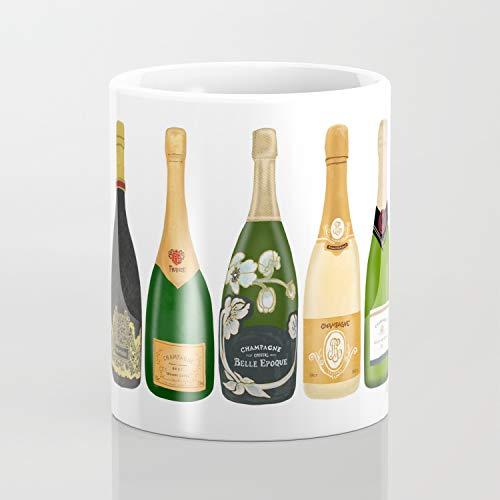 Taza de café con diseño de botellas de champán de 325 ml