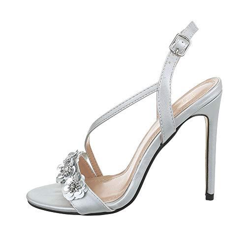 Ital-Design Damenschuhe Sandalen & Sandaletten High Heel Sandaletten Synthetik Silber Gr. 39