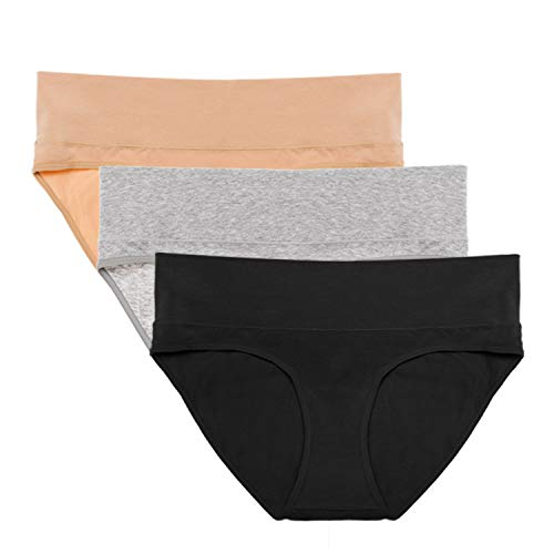 Intimate Portal Foldable Under Bump Maternity Underwear Women Pregnancy Panties 3-Pk Black Beige Gray Large