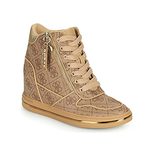 Guess Scarpe Donna Sneaker Alto con Zeppa MOD. Nangy Beige/Oro D22GU24 FL7NNGFAL12 37