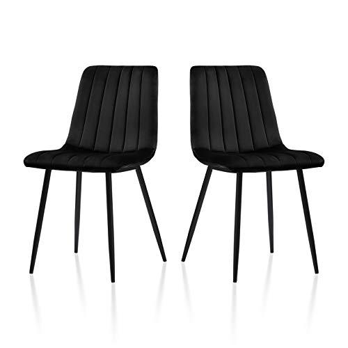 TUKAILAI 2 sillas de comedor de terciopelo, sillas de cocina, sillas de salón con patas de metal, sillas de recepción, juego de 2 unidades con respaldo y asiento acolchado, color negro