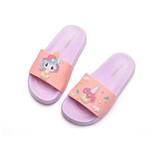 HommyFine Zapatos de Ducha, Playa y Piscina Sandalias de Baño Antideslizantes Sandalias de Unicornio Princesa Celestia para niños y niñas (Rosado, Numeric_33)