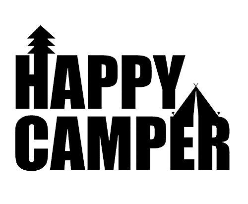 Creative Concept Ideas Happy Camper Tent Tree CCI Decal Vinyl Sticker|Cars Trucks Vans Walls Laptop|Black |7.5 x 5.2 in|CCI1839