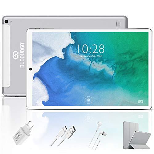 Tablet 10 Pulgadas 4G FHD 64GB de ROM 4GB de RAM Android 9.0 Certificado por Google GMS Tablet PC Baratas Procesador de Quad Core Batería 8500mAh Dual SIM 8MP Cámara WiFi,Bluetooth,GPS,OTG(Plata)