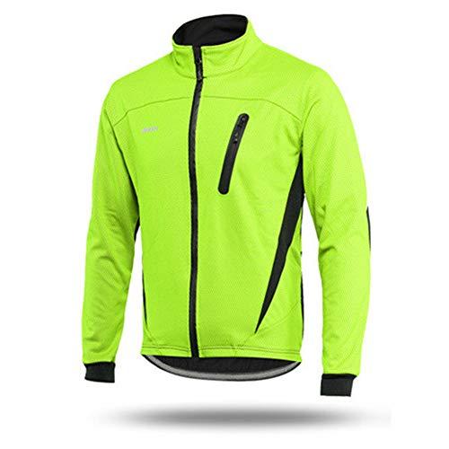 Chaqueta De Ciclismo A Prueba De Viento De Invierno, Chaquetas De Ciclismo para Hombres para Hombres MTB Chaqueta De Bicicleta De Montaña Chaqueta Cálida De Vellón Reflectante Visible (Verde,M)