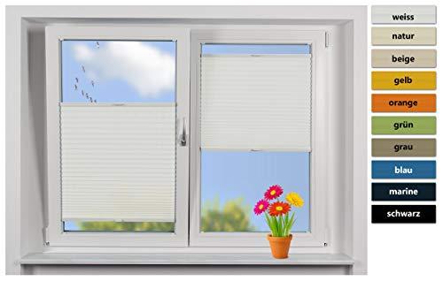 EFIXS Plissee Tag auf Maß, Stoff: weiß, Schienen: weiß, Breite bis 50cm, Höhe bis 100cm, Montage: Festschrauben im Glasfalz, Maßanfertigung