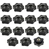 15 tuercas con mango de estrella M8 x 38 mm, de plástico, rosca interior a través del agujero de estrella, tornillo negro estrella con forma de botón para máquina de herramientas