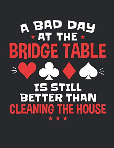 Un mal día en la mesa del puente es mejor que limpiar la casa: planificador semanal Bridge Player 2021 (de enero de 2021 a diciembre de 2021), organizador de calendario de bolsillo grande, regalo para amantes del puente