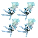 Baby Plum Light Blue Wedding Boutenierre for Man Suit Handmade Groom Bridegroom Groomman Accessories with Pin and Clip in Back, Pack of 4