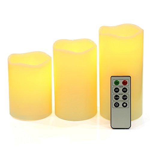 SONGMICS Juego de 3 velas LED con luz amarilla con temporizador de batería de control remoto GLC75D
