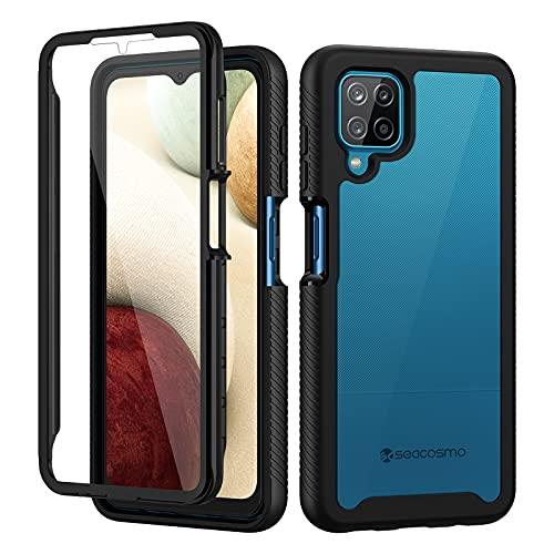 seacosmo Funda Samsung A12 con Protector de Pantalla Incorporado Anti-rayones, Antigolpes 360° de PC Hard Funda para Samsung Galaxy A12 - Negro+Transparente [Anti-Amarilleo]