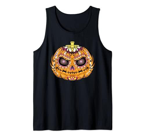 Calavera de azcar de calabaza, crneo de Halloween Camiseta sin Mangas