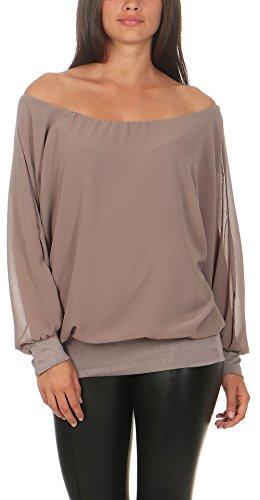 Malito Damen Chiffon Langarm Bluse | Tunika mit weiten Ärmeln | Blusenshirt mit breitem Bund | elegant - schick 6291 (Fango)