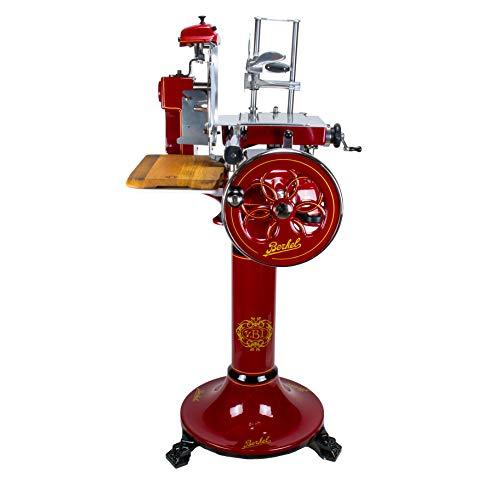 Palatina Werkstatt ® exklusive Berkel Volano B3 | Aufschnittmaschine/Allesschneider mit blütenverziertem Schwungrad |rot| + Berkel Stand-Fuß + Schneidebrett aus Fassholz | VK: 7548,- €