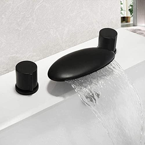Grifo para lavabo Grifo para lavabo de baño Grifo para lavabo de cocina Grifo para lavabo de baño de latón Grifo para lavabo de cascada Grifo mezclador para lavabo de tocador Perilla doble Mate,
