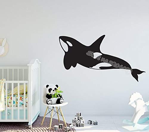 Grand Whale Island Sticker Mural Orca Mer Créatures Plage Décor Decal Mignon Dolphin Nursery enfant bébé Salle De Bains Affiche murale 77X42CM