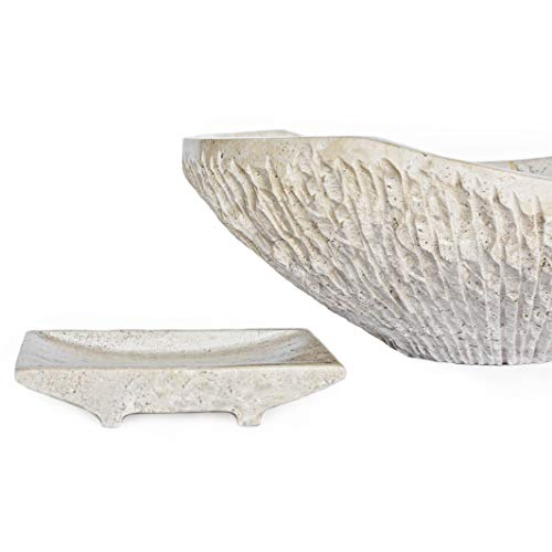 Tan Travertine Chiseled Stone Bathroom Vessel Sink - Oval Canoe Shape - 100% Natural Marble, Hand Carved - Free Matching Soap Tray