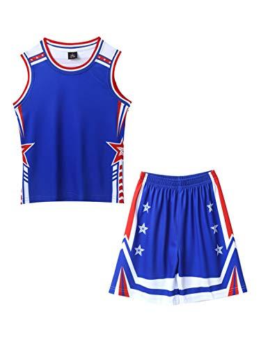 FEESHOW Kinder Jungen Mädchen Basketball Trikot Anzug 2 Stück Sommer Sport Trainingsanzug Loungewear ärmelloses Weste Tops und Shorts Set Blau 134-140