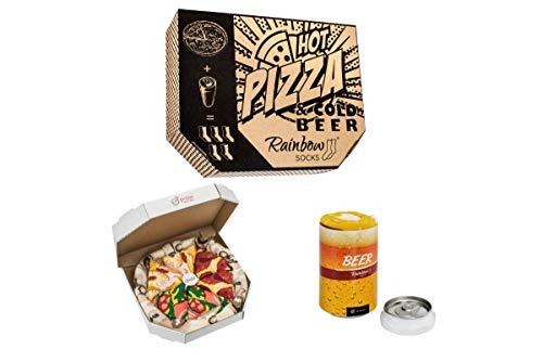 Rainbow Socks - Damen Herren Lustige Pizza und Bier Box Geschenk - 5 Paar - Burger Bier - Größen 41-46