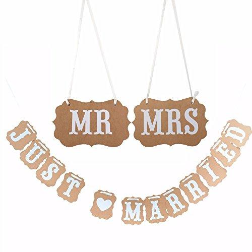 Veewon Sr. Sra. Y Acaba de Casarse Celebración de la Fiesta de la Boda Bunting Banner Hanging Guirnalda Decoración Papel Kraft con la Cinta