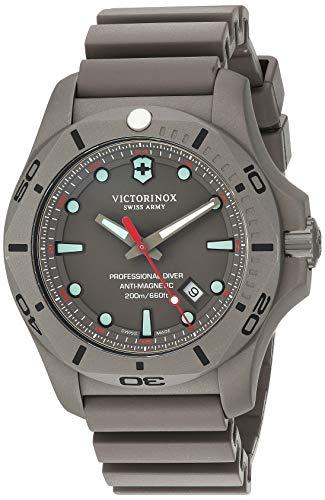 Victorinox Swiss Army Men's I.N.O.X. Titanium Swiss-Quartz Diving Watch with Rubber Strap, Grey, 22.5 (Model: 241810)
