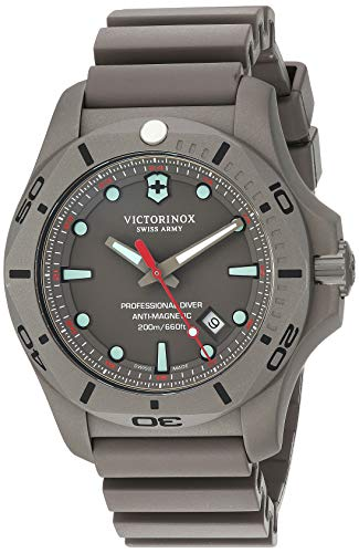 Victorinox Swiss Army Men's I.N.O.X. Titanium Swiss-Quartz Diving Watch with Rubber Strap, Grey, 22.5 (Model: 241810)