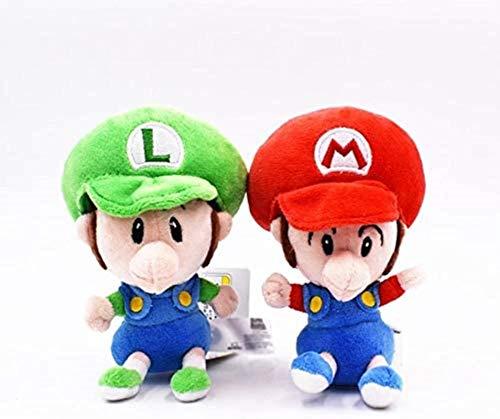 siyat Jikasifa-US Sprouter Super Mario juguetes de peluche 2 piezas 14 cm lindo Super Mario Luigi suave peluche bebé rojo verde Mario Bros muñeca (color predeterminado)