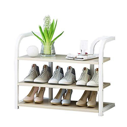 Zapatero de 70 cm de ancho Estantes de almacenamiento Organizador vertical de estante para plantas Marco de hierro blanco + Tablero de madera Ideal para pasillos, baños, salas de estar y pasillos70X27X50CM