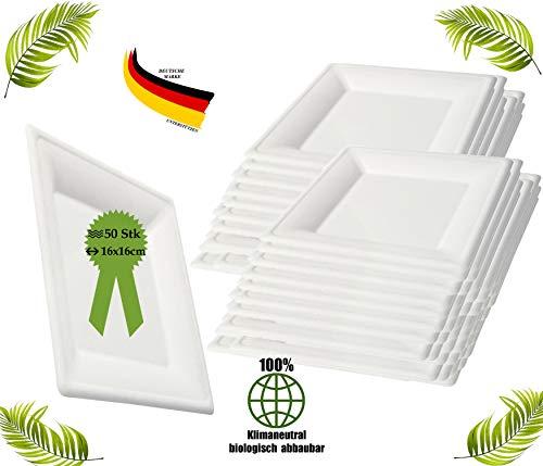 BIOQUQ Einwegteller | Bio Einweggeschirr 50 Stück 16x16cm eckig Zuckerrohr Teller weiß | Partyteller Speiseteller Einwegteller Einmalgeschirr